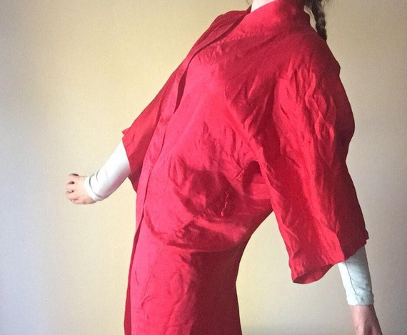 Silk Dragon Robe | 70s embroidered long max unisex OSFM one size open draping long lounge house robe Chinese wide arm open unique vintage os