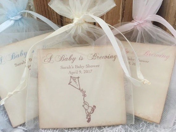 Winnie The Pooh Baby Shower Favors Tea Bag Favors Baby Is Etsy