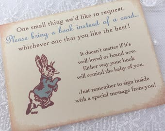 Bring a Book Insert Card Baby Shower Instead of a Card Insert Peter Rabbit Set of 10