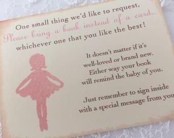 Bring a Book Insert Card Invitation Insert Ballerina Set of 10