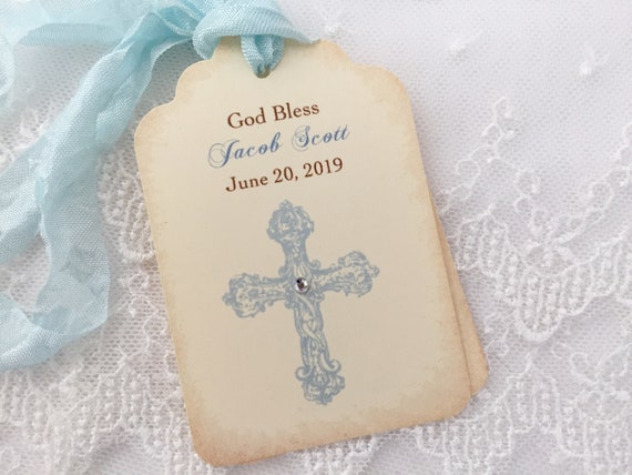 Baby Blue Baptism Tags Baby Boy Christening Set of 20 Small Personalized Favor Tags