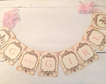 Girl Stork Banner Pink Garland Baby Shower Decoration