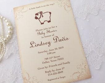 Lamb Invitations, Lamb Baby Invitations, Lamb Baby Shower Invitations, Sheep Invitations, Sheep Baby Invites, Printed Set of 10