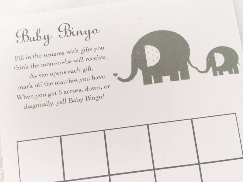 Elephant Bingo Cards Baby Shower Bingo Game Cards Set of 10