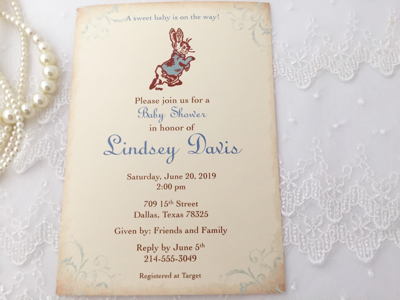 Peter Rabbit Invites Peter Rabbit Printed Invitations Peter Etsy