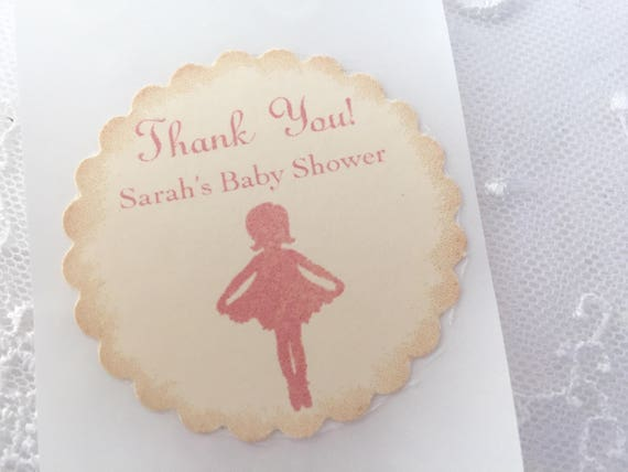 Ballerina Stickers Girl Baby Shower Envelope Seals Vintage