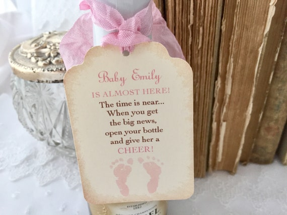 Girl Baby Shower Champagne Tags Baby Mini Wine Bottle Tags Set Of 10 Baby Champagne Labels Cheers Baby Tags Champagne Favor Tags Pink