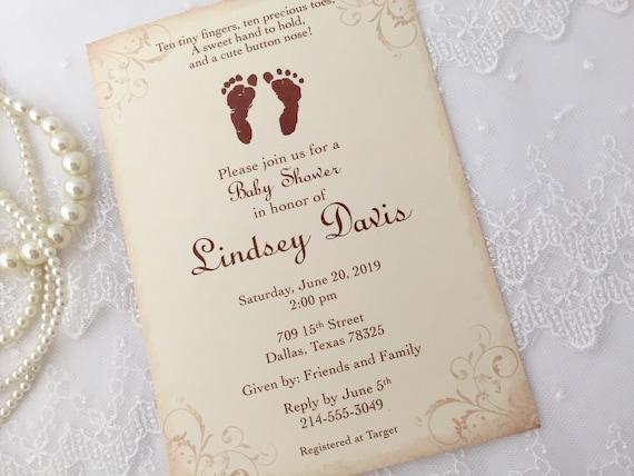 Footprint invitations baby shower invitations baby etsy image 0 filmwisefo
