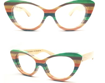1a066991bb colour bamboo skateboard wood TAKEMOTO cat eye heart shape round handmade  sunglasses