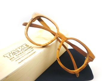 1211ca599ba Zebra Wood Round Takemoto Thanks Handmade Glasses With Wood