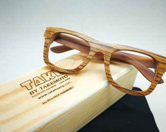 a52cfd34938 ONLY ONE On Sale zebra woode wooden takemoto eyeglasses prescripiton glasses  frames sunglasses