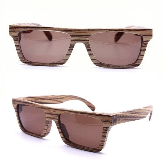 7e2cf10f5d Knight Zebra Wood Takemoto Prescription square Sunglasses