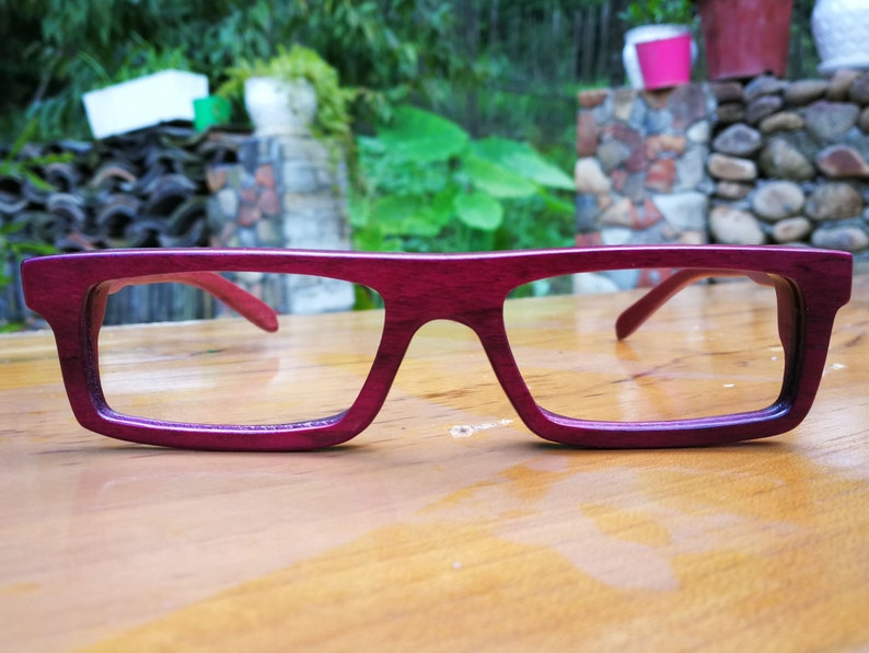 aa73a9943d58 Purple heart wood very square NEVER Handmade Wooden Takemoto