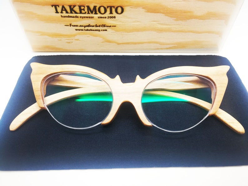 653835e2c4 Cat eye cherry wood TAKEMOTO cat eye half-rimless glasses