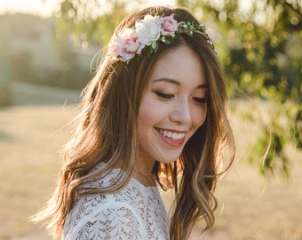 blossom and forest asymmetrical bridal wedding flower crown // Florette - ivory and creamy pink / bohemian floral headpiece flower crown