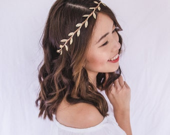 gold leaf crown    gold leaf flower crown   gold leaf headband   simple  minimalist gold headpiece fascinator 7add85297cc
