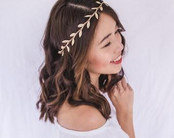 gold leaf crown // gold leaf flower crown / gold leaf headband / simple minimalist gold headpiece fascinator, spring racing, wedding bridal