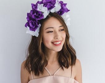 SALE - purple white floral crown / statement headband, festival floral headpiece, wedding bridal headpiece, lana del rey, fascinator