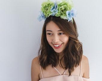 SALE - blue and green flower crown // floral headpiece, festival crown, wedding bridal headpiece, statement, lana del rey, fascinator