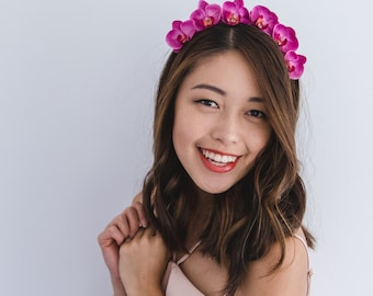orchid flower crown headband / fuchsia // spring racing flower crown headband fascinator, statement floral headpiece