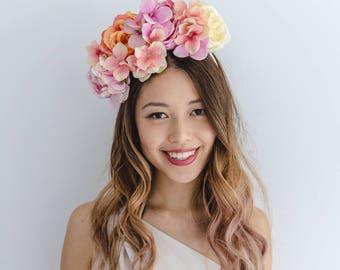 peach races flower crown // spring racing statement flower crown / spring races flower crown headband / flower fascinator bohemian