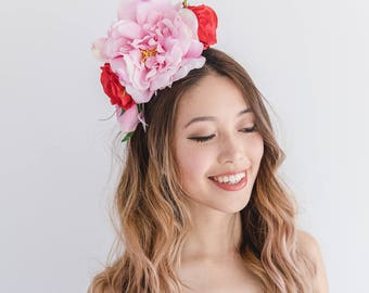 oversized pink red statement flower crown // spring racing flower crown / spring carnival flower crown / spring races flower fascinator