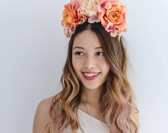 peach orange flower crown // spring racing statement flower crown / spring races flower crown headband / flower fascinator bohemian