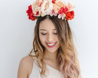 peach red flower crown // spring racing statement flower crown / spring races flower crown headband / flower fascinator bohemian