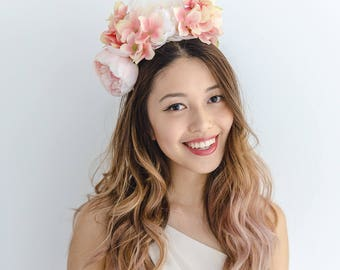 peach flower crown // spring racing statement flower crown / spring races flower crown headband / flower fascinator bohemian