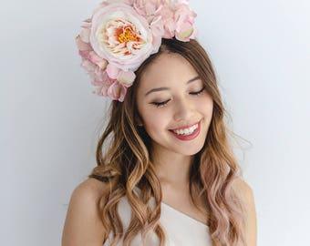 pale pink flower crown headband // spring racing statement flower crown / spring races flower crown headband / flower fascinator bohemian
