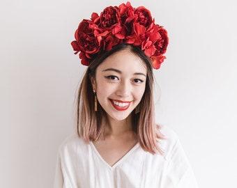 red statement flower crown // spring racing flower crown / spring races flower crown headband / flower fascinator bohemian