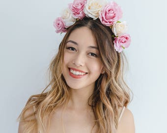 pink champagne flower crown fascinator // spring flower crown / spring racing flower headpiece / spring carnival races