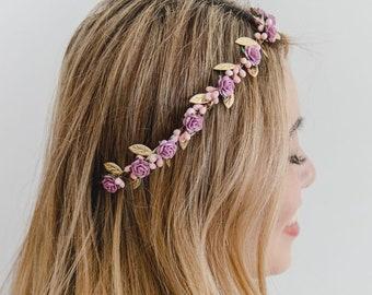 pink lilac rose, leaf & berry flower crown // rustic gold leaf crown / wedding flower crown / bridal flower crown / bridesmaids hair