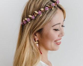 purple rose, leaf & berry flower crown // rustic gold leaf crown / wedding flower crown / bridal flower crown / bridesmaids hair