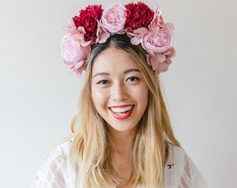 spring statement flower crown // pink / races statement flower crown / spring racing flower crown headband / fascinator bohemian