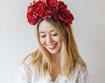 spring statement flower crown // red / races statement flower crown / spring racing flower crown headband / fascinator bohemian