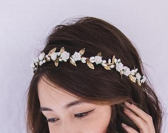 gold white rose, leaf & berry flower crown // bridal wedding flower crown headband rustic forest garden spring woodland headpiece