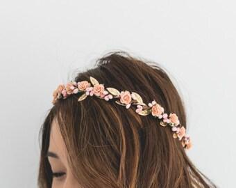 peach, pink, gold rose, leaf & berry flower crown // pink gold leaf crown / peach gold flower crown / peach beach wedding flower crown