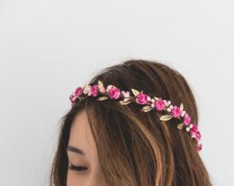 pink gold rose, leaf & berry flower crown // pink gold leaf crown / pink gold flower crown / pink gold / christmas gold flower crown