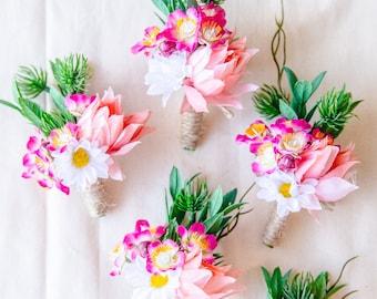 rustic pink wedding boutonniere // wedding boutonniere, woodland wedding boutonniere, pink forest boutonniere, mens buttonhole