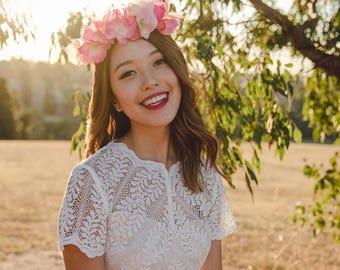 pink wildflower flower crown // wedding flower crown / silk floral headpiece / spring flower crown / statement flower crown / hydrangea