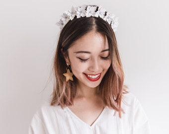 ivory leather flower crown headpiece // bridal hair accessory / wedding leather pearl crown / hens night / luxurious design