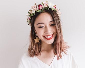 hanami bridal wedding flower crown // bohemian floral headpiece flower crown / rustic wedding crown / pink bright wedding flower crown