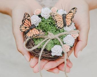 butterfly birds nest ring bearer pillow - rustic wedding flower ring bearer pillow, twine moss nest ring pillow, woodland forest wedding