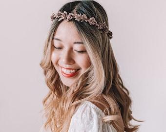 rose gold flower crown // metallic rose gold flower crown / rose gold wedding flower crown