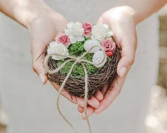 birds nest ring bearer pillow - rustic wedding flower ring bearer pillow, twine moss birds nest ring pillow, woodland forest wedding