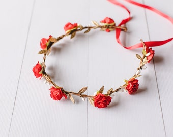 colourful red festive flower crown // red flower crown / red flower headband / red party flower crown / festival flower crown