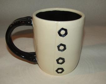 Unique Stoneware Mug, hand built; coffee mug,  pottery mug, ceramic mug, made in the USA