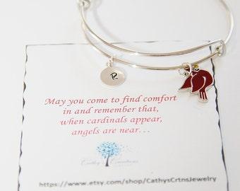 Sympathy Gift, Cardinal Bracelet, Personalized Jewelry, Memorial Gift, Memorial Jewelry, In Memory of, Remembrance Gift