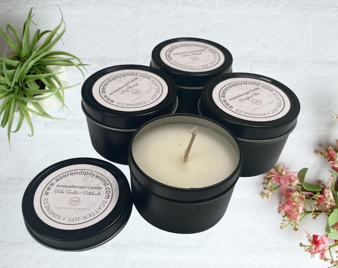 4 oz Palo Santo + Patchouli Soy Blend Candle, Aromatherapy Travel Tin, Decorative Home Decor